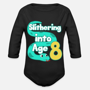 Saying Snake 8th Birthday Party Eighth Boa Gift - Organic Long-Sleeved Baby Bodysuit