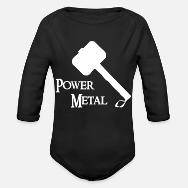 Power Metal Power Metal with a hammer - Organic Long-Sleeved Baby Bodysuit