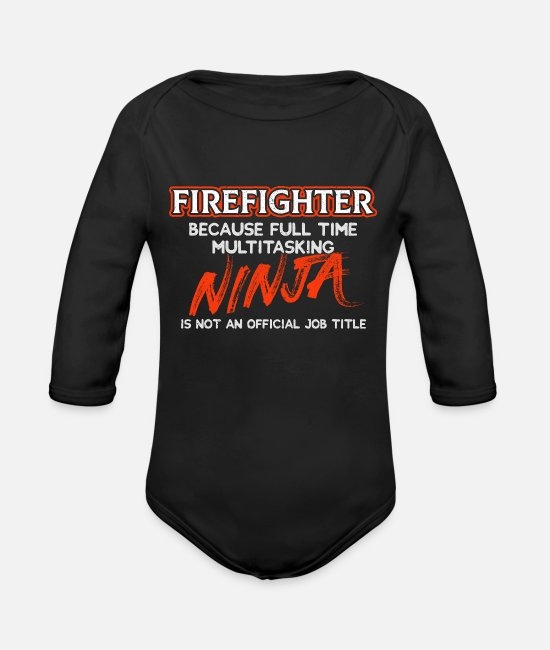 Gift Baby bodies - Cool Fire Fighter Ninja - Rompertje met lange mouwen zwart
