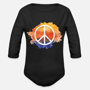 Symbol Symbol peace gift world peace hippie - Organic Long-Sleeved Baby Bodysuit