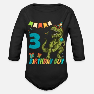 Age 3 Year Olds Childrens Birthday Boy Party - Organic Long-Sleeved Baby Bodysuit