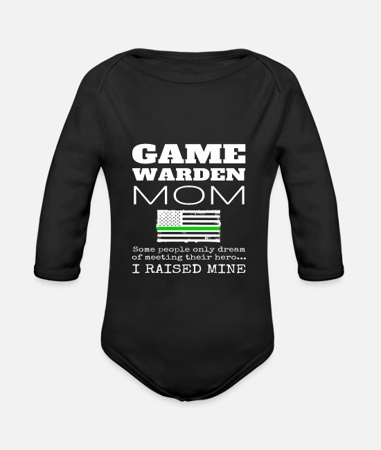 Gamekeeper Baby Bodysuits - Game Warden Mom Gift Thin Green Line USA Flag - Organic Long-Sleeved Baby Bodysuit black