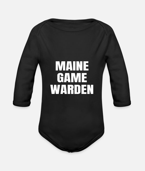 Gamekeeper Baby Bodysuits - Maine Game Warden Plain Gift For Men Or For Women - Organic Long-Sleeved Baby Bodysuit black