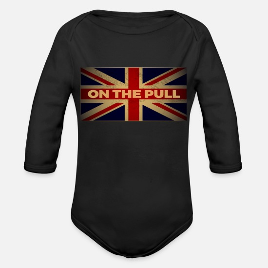 British Baby Clothes - Funny British Slang Gift for Anglophiles : On the - Organic Long-Sleeved Baby Bodysuit black