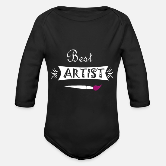 Gift Idea Baby Clothes - artist - Organic Long-Sleeved Baby Bodysuit black