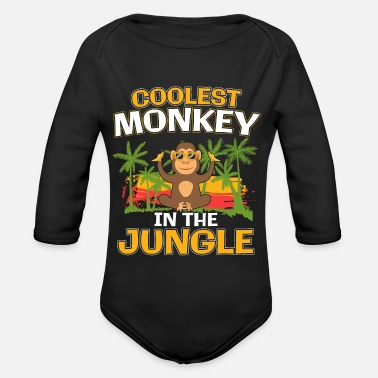 Jungle Coolest Monkey In The Jungle Cool Monkey Gift - Organic Long-Sleeved Baby Bodysuit
