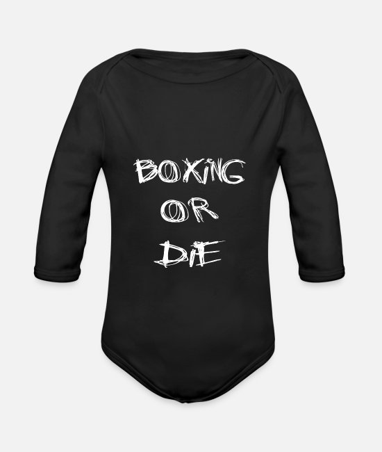 Fighter Baby Bodysuits - boxing - Organic Long-Sleeved Baby Bodysuit black