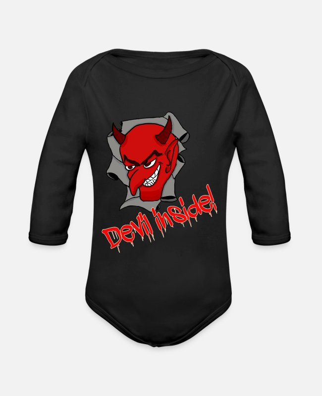 Christmas Baby Bodysuits - Gift saying devil provocative party - Organic Long-Sleeved Baby Bodysuit black