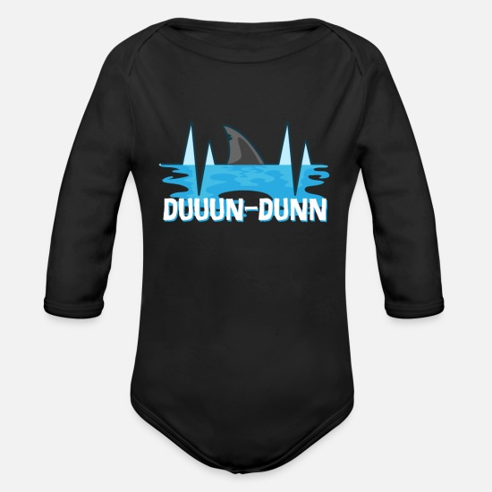 Birthday Baby Clothes - Shark shark shark Duuun Dunn lover gift - Organic Long-Sleeved Baby Bodysuit black