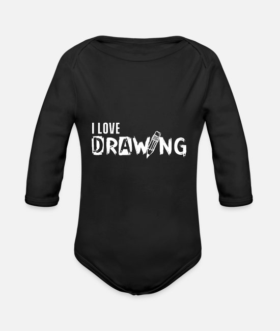 Artist Baby Bodysuits - Drawing drawing drawing drawing - Organic Long-Sleeved Baby Bodysuit black