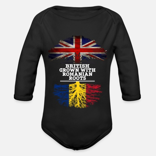 Romanian Baby Clothes - British Grown With Romanian Roots - Organic Long-Sleeved Baby Bodysuit black
