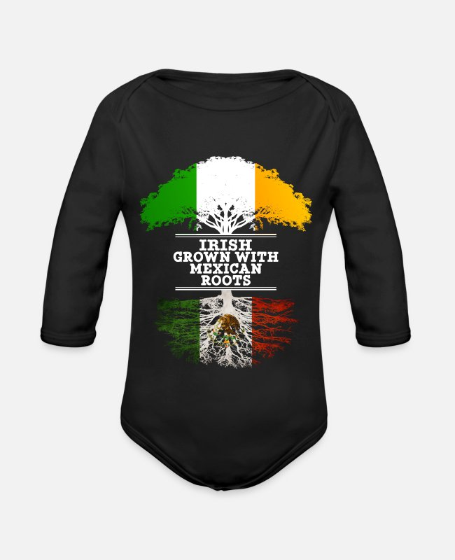 Mexican Baby Bodysuits - Irish Grown With Mexican Roots - Organic Long-Sleeved Baby Bodysuit black