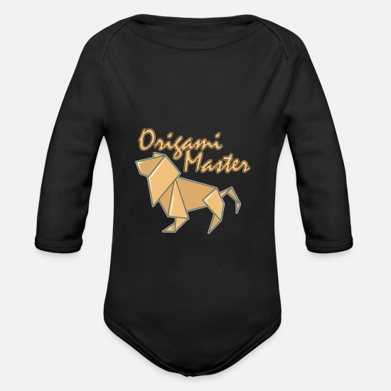 Origami Baby Clothes - Origami master - Organic Long-Sleeved Baby Bodysuit black