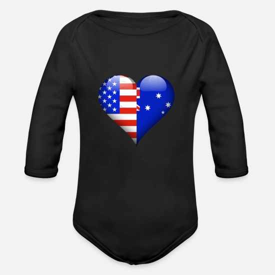 Flag Baby Clothes - Half American Half Australian - Organic Long-Sleeved Baby Bodysuit black
