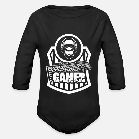 Gift Idea Baby Clothes - Gaming Gaming Gaming Gaming - Organic Long-Sleeved Baby Bodysuit black