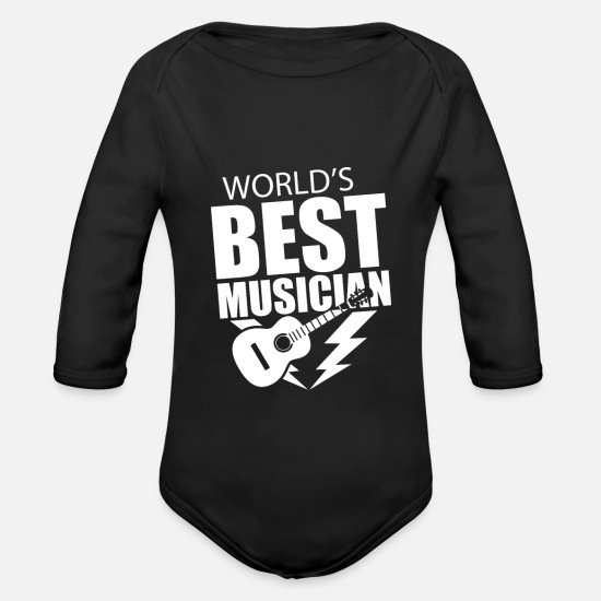 Gift Idea Baby Clothes - Musician - Organic Long-Sleeved Baby Bodysuit black