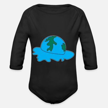 Earth melts global warming - Organic Long-Sleeved Baby Bodysuit