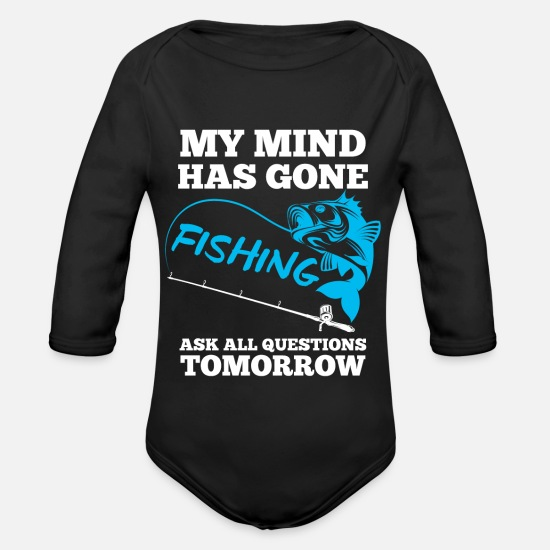 Fish Hook Baby Clothes - Fishing fishing - Organic Long-Sleeved Baby Bodysuit black