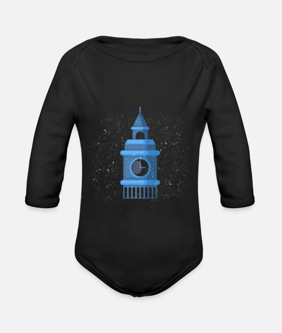 National Baby Bodys - London Big Ben Country Geschenk - Baby Bio Langarmbody Schwarz