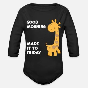 Giraffe Giraffen Guten Morgen Freitag Baby Langarmshirt Weiß