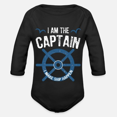 Boot I Am The Captain - Lustiges Segel & Boot Design - Baby Bio Langarmbody