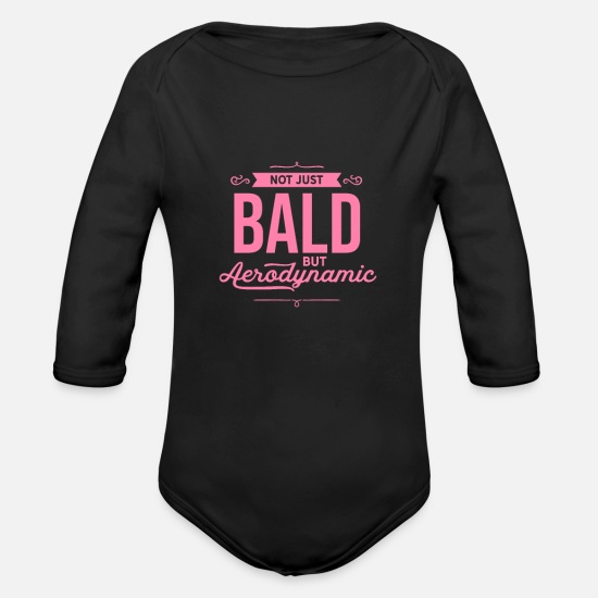 Husband Baby Clothes - Hairstyle Bald Bearer Bald Baldie No hair - Organic Long-Sleeved Baby Bodysuit black