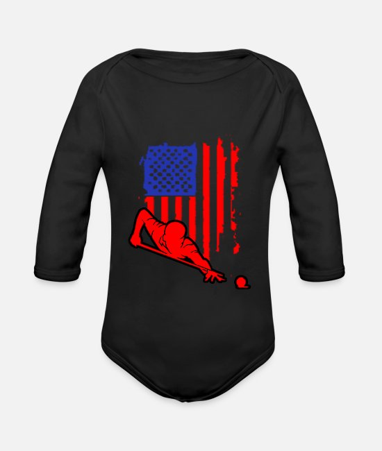 Nine Baby Clothes - Billiards Pool Bar Snooker Sport Hobby Gift - Organic Long-Sleeved Baby Bodysuit black