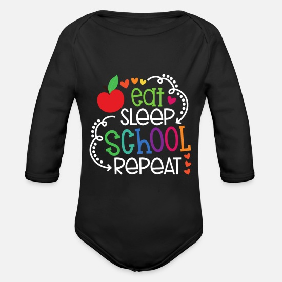 Kindergarten Baby Clothes - First Grade First Grade First Class Gift - Organic Long-Sleeved Baby Bodysuit black