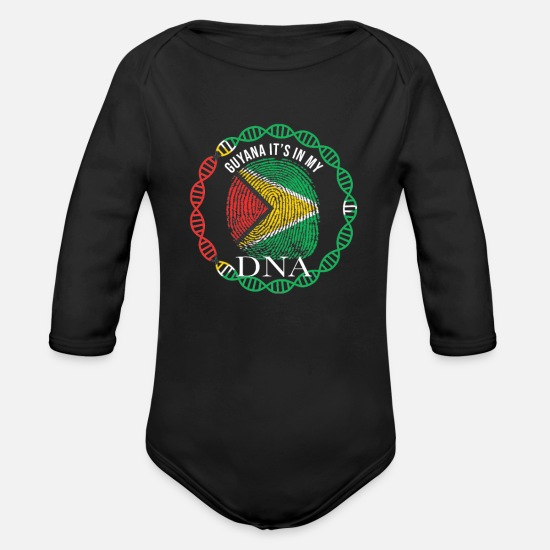 Guyana Baby Clothes - Guyana Its In My DNA - Organic Long-Sleeved Baby Bodysuit black