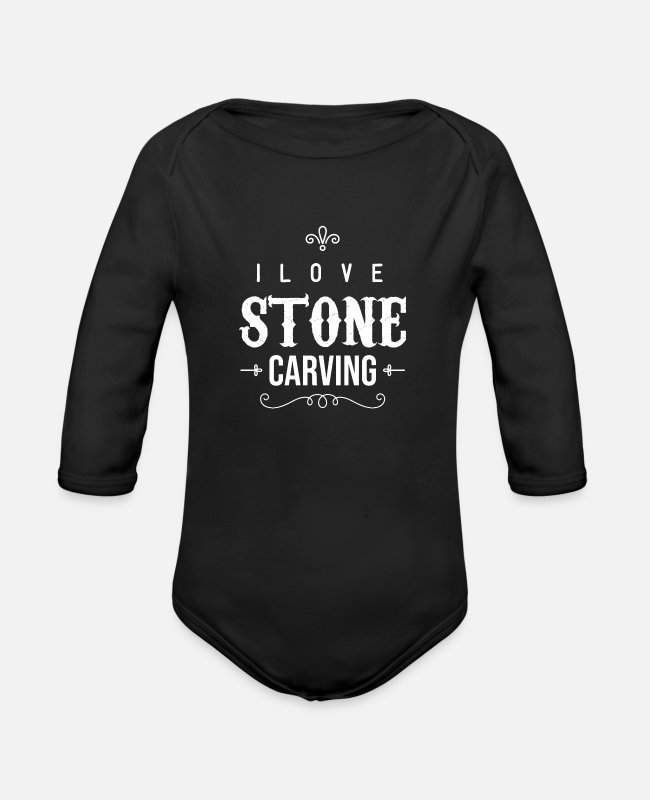 Occupation Baby Bodysuits - Profession Steinmetz Stein Steinhauer carving stones - Organic Long-Sleeved Baby Bodysuit black