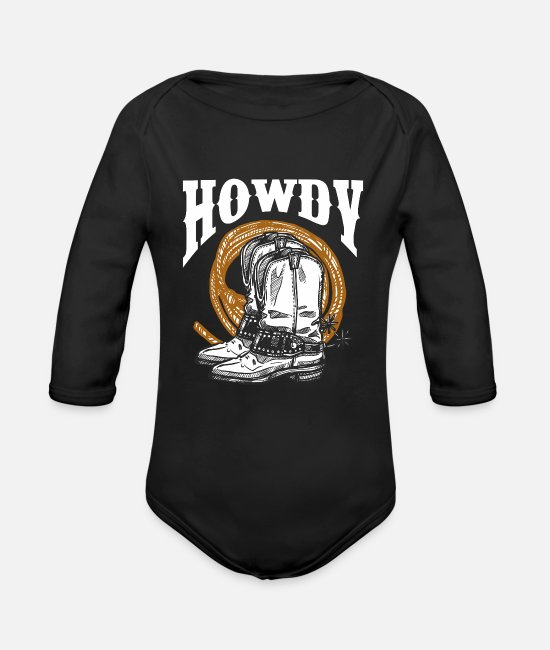 Horseshoe Baby Bodysuits - Howdy Cowboy Wild West Lasso Boots Rodeo - Organic Long-Sleeved Baby Bodysuit black