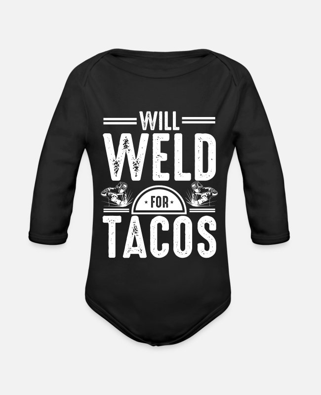 Dipped Baby Bodysuits - Welds for tacos - Organic Long-Sleeved Baby Bodysuit black