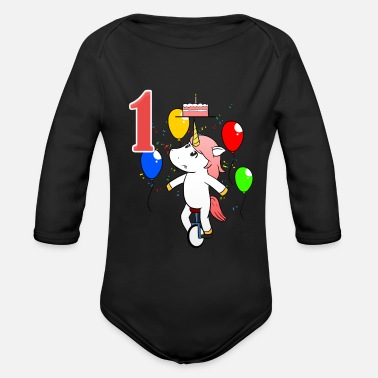1 Unicorn 1st Birthday Girl One Baby 1 Gift - Organic Long-Sleeved Baby Bodysuit
