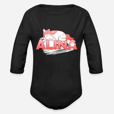 First Name Alina first name name - Organic Long-Sleeved Baby Bodysuit