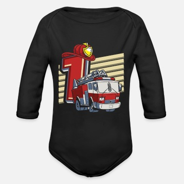 Birthday 1 year old fire department - Organic Long-Sleeved Baby Bodysuit