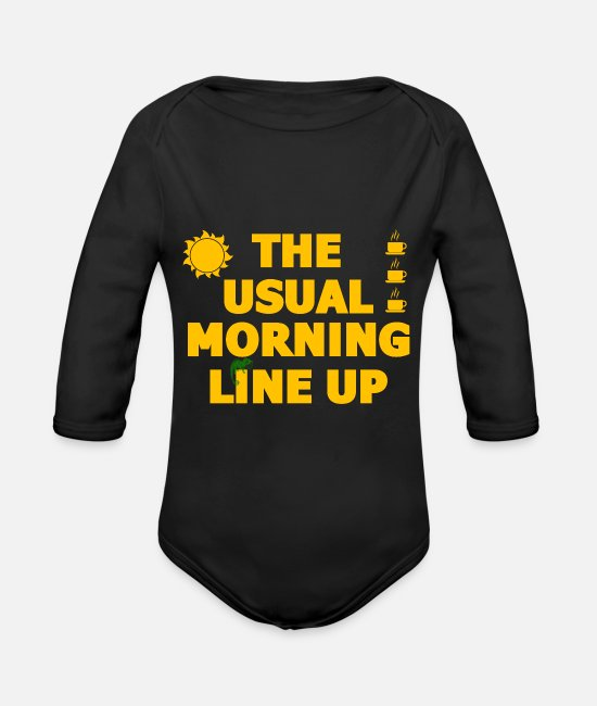Typography Baby Clothes - The usual morning arrangement coffee polka dots - Organic Long-Sleeved Baby Bodysuit black