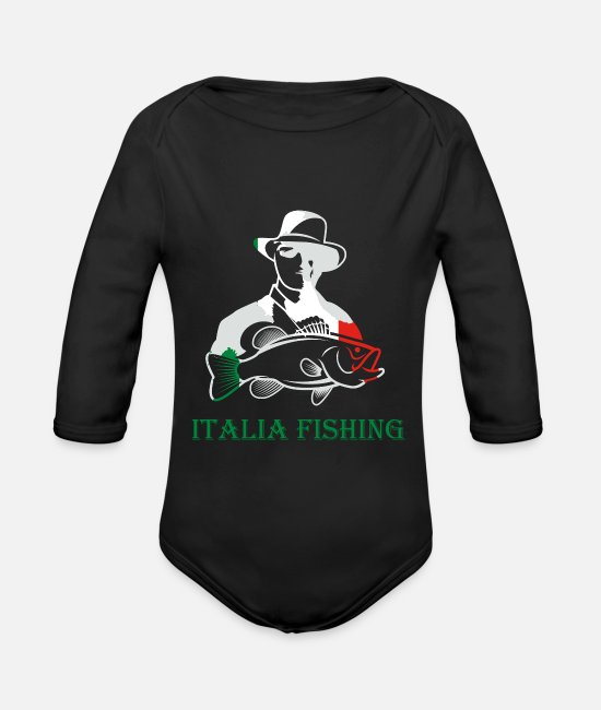 Fishing Rod Baby Clothes - Fisheries Master Italy art gift design - Organic Long-Sleeved Baby Bodysuit black
