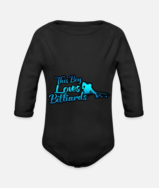 Training Baby Bodysuits - This boy loves billiards - Organic Long-Sleeved Baby Bodysuit black