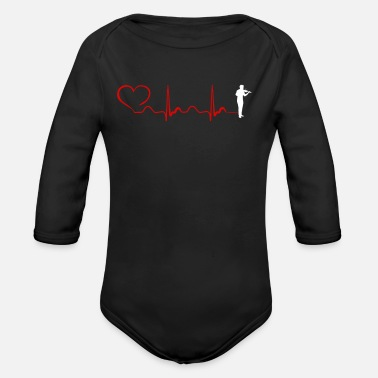 Fiddlestick Violin Heartbeat And Heart - Organic Long-Sleeved Baby Bodysuit