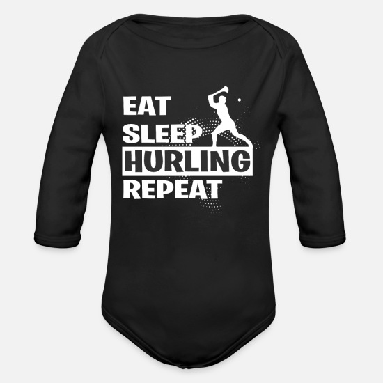 Sports Baby Clothes - HURLING - Organic Long-Sleeved Baby Bodysuit black