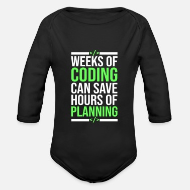 Pc Programmer funny sayings - Organic Long-Sleeved Baby Bodysuit