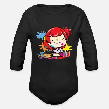 Make A Mess Girl making a mess with paint - Organic Long-Sleeved Baby Bodysuit