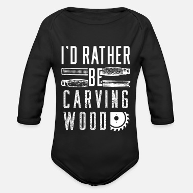 Carve Wood carving wood carving - Organic Long-Sleeved Baby Bodysuit