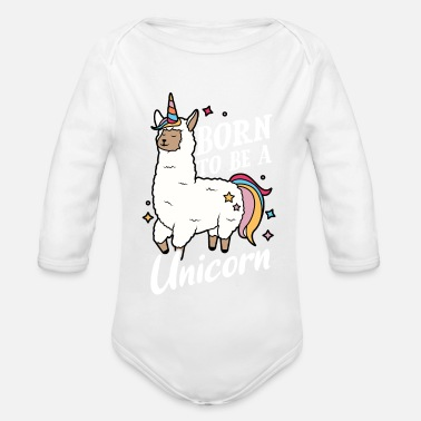 Born to be a Unicorn unicorn party birthday - Organic Long-Sleeved Baby Bodysuit