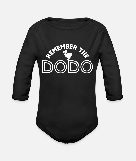 Extinct Baby Bodysuits - Dodo Dodos Extinct Ornithology - Organic Long-Sleeved Baby Bodysuit black