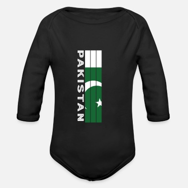 Pakistani country color in stripes - Organic Long-Sleeved Baby Bodysuit
