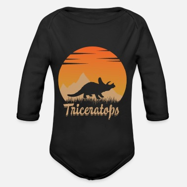 Triceratops in nature - Organic Long-Sleeved Baby Bodysuit