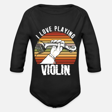 Symphony I love playing violin gift for violin players - Organic Long-Sleeved Baby Bodysuit