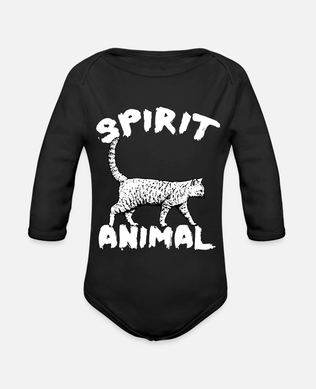 Mammal Baby Bodysuits - CAT - Organic Long-Sleeved Baby Bodysuit black