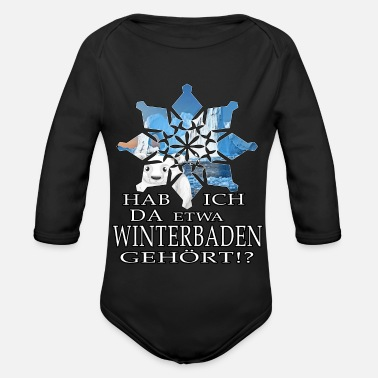 Snow Crystal ice bathing ice bear winterbader motivation snow ice - Organic Long-Sleeved Baby Bodysuit